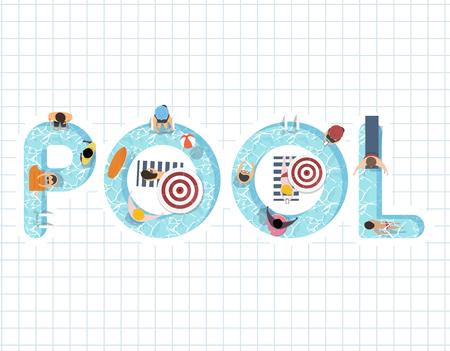Zomer feel design met het woord Pool