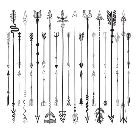 Set collection of arrows icons Illustration
