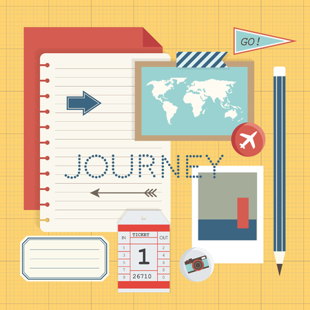 Mockup of journey travel planning illustration