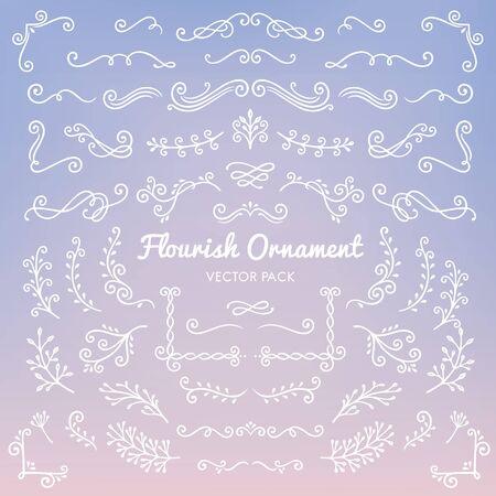 Flourish ornaments calligraphic design elements set illustration