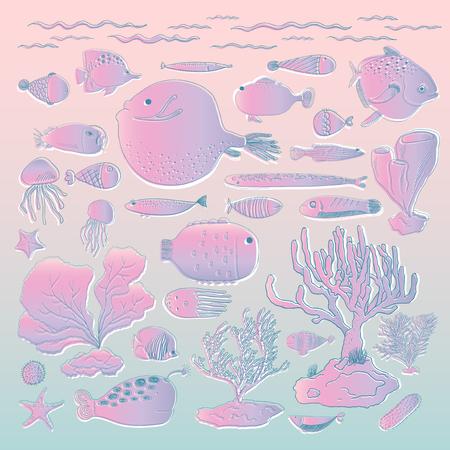 수중 생물 일러스트