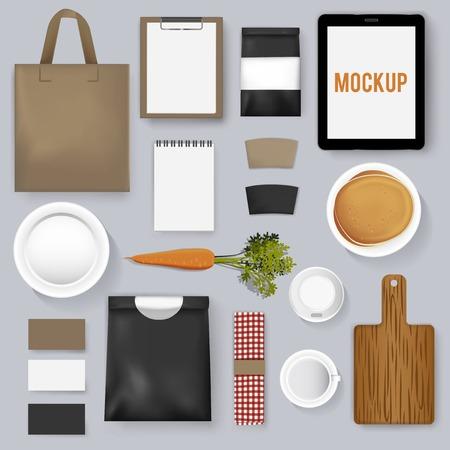 Mockup set collection coffee cafe vector illustration Illustration