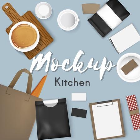 Mockup instellen collectie koffie café vectorillustratie