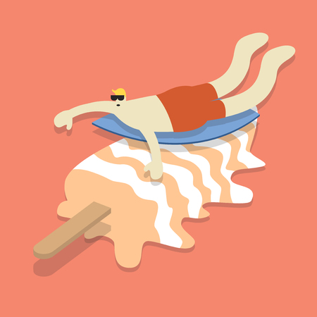 Man surfing on an ice cream stick