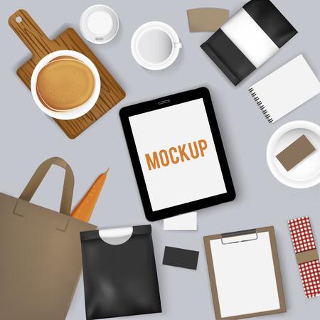 Mock-up set verzameling koffie café