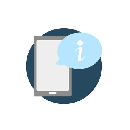 Illustration of digital device with alert icon Illustration
