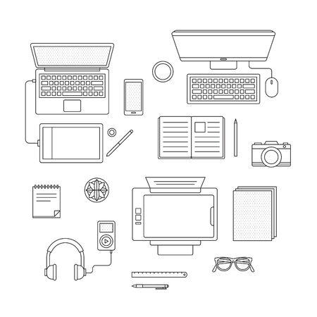 Vector set van digitale apparaten Stock Illustratie
