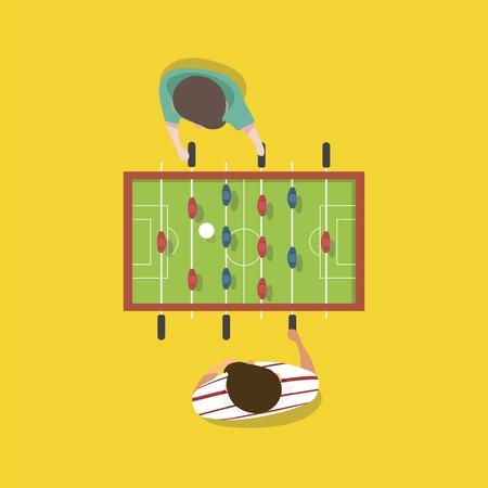 テーブル トップ サッカー ゲームを再生する人々 のベクトル