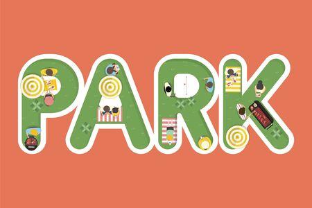 夏のベクトルを感じる単語公園設計 写真素材 - 86205379