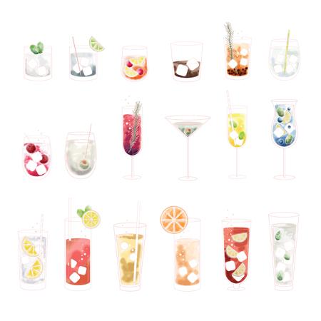 Set of beverage Illustration