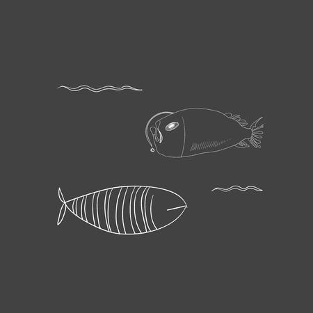 水中の生き物のセット