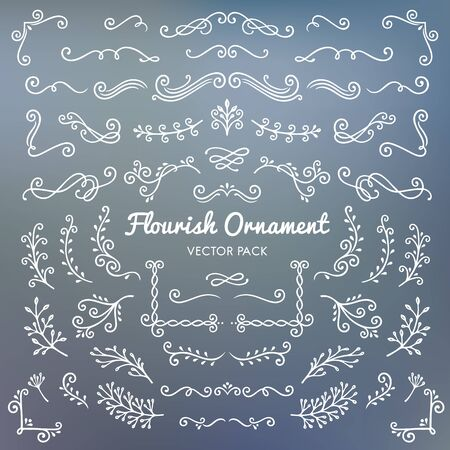 Flourish ornaments calligraphic design elements vector set illustration