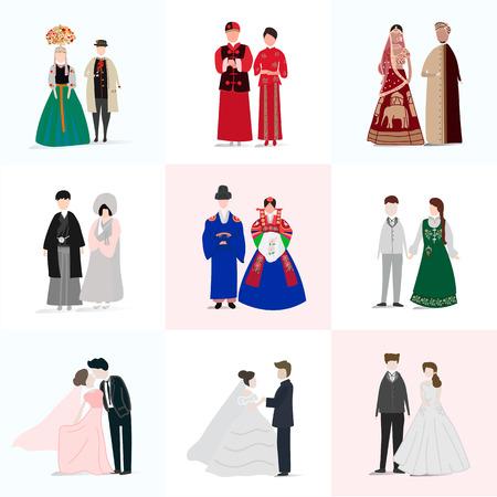 Set bruiloft collectie op een effen achtergrond. Vector Illustratie