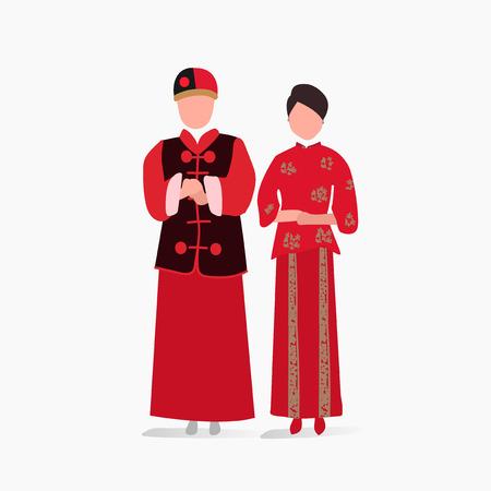 中国の伝統的な結婚式ドレス ベクトル