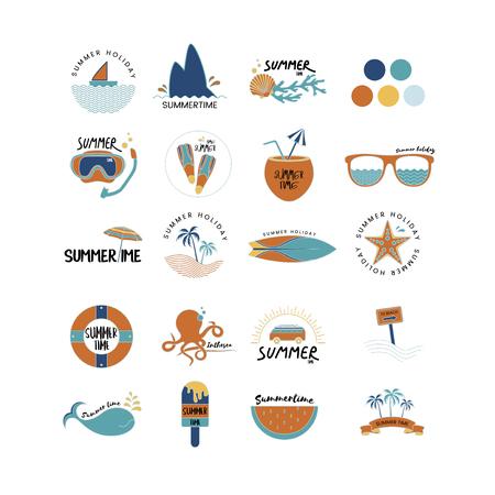Vector of summer icons set Çizim