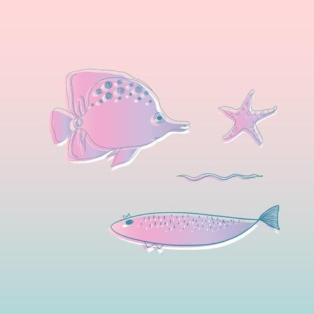 Vector of underwater creatures Reklamní fotografie - 86205472