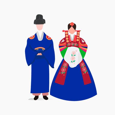 한국 전통 웨딩 드레스 벡터