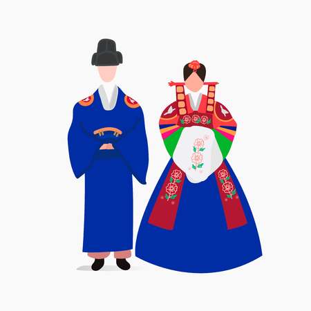 South Korean traditional wedding dress vector Illustration