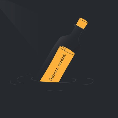 Vector of message bottle Çizim