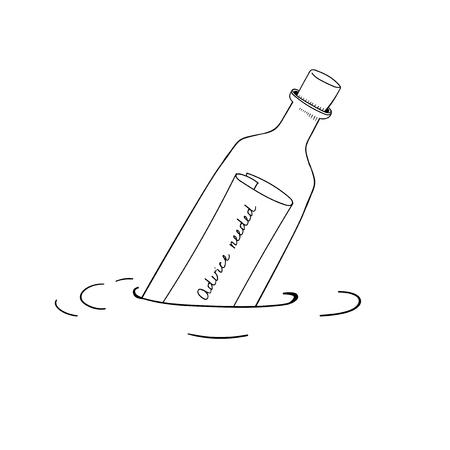 Vector of message bottle Illustration