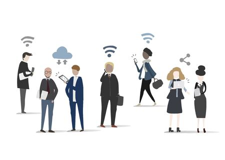 Vector collection of business people network