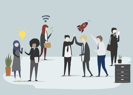 Vector collection of business people- idea network and rocket Illustration