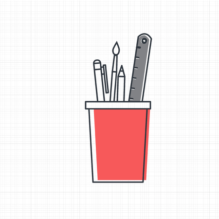 Vector of office supply icon Çizim
