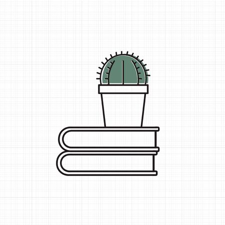 Vector of cactus on books Stock Vector - 87041698