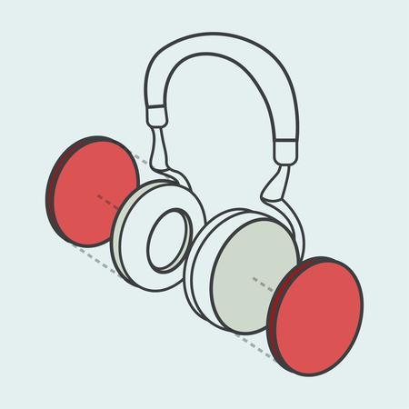 Illustratieve hoofdtelefoon digitale creatieve afbeelding Stock Illustratie