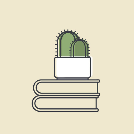 Vector of cactus on books Stock Vector - 86964256