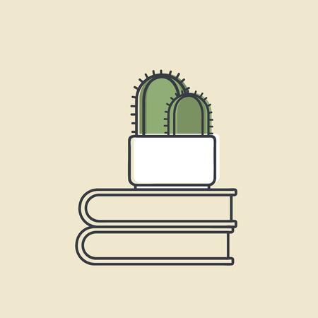 Vector van cactus op boeken Stockfoto - 86964256