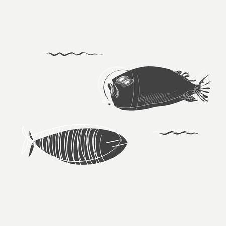 해양 생물의 일러스트 레이션