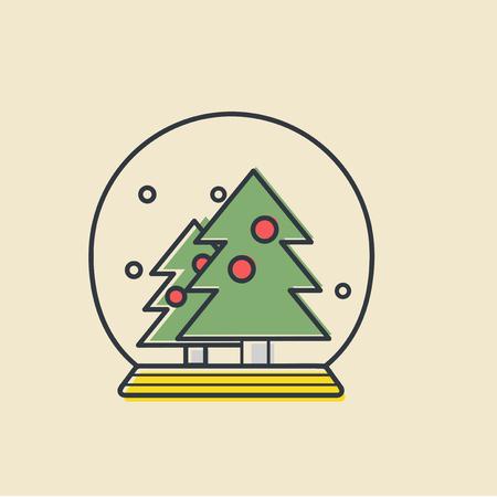 クリスマスの雪のボールのアイコンのベクトル