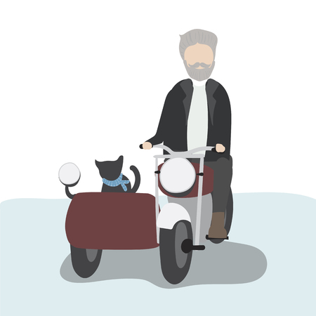 Man in motorcycle with sidecar