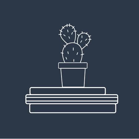 Vector van cactus op boeken Stockfoto - 87041709