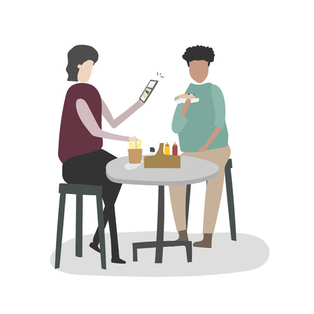 People eating together Illustration