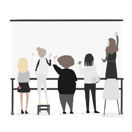 illustration de travailleurs de bureau de style de vie