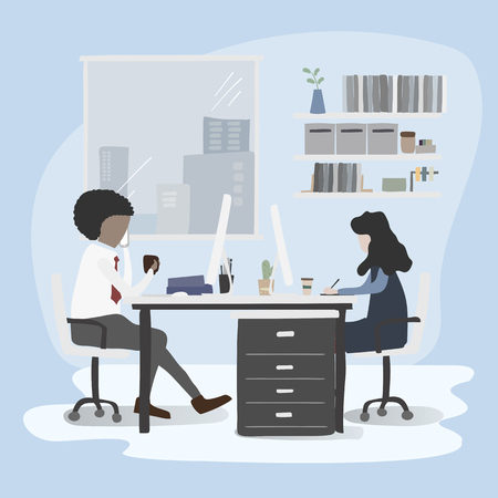 Illustration of office workers lifestyle Иллюстрация