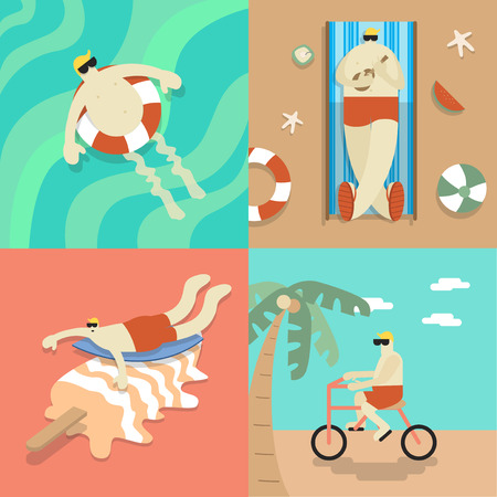 Chilling on the beach Illustration