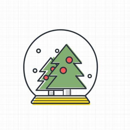 クリスマススノーボールアイコンのベクトル  イラスト・ベクター素材