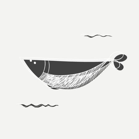 背景に分離した魚のイラスト