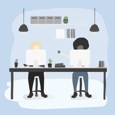 Illustration of office workers lifestyle Ilustração