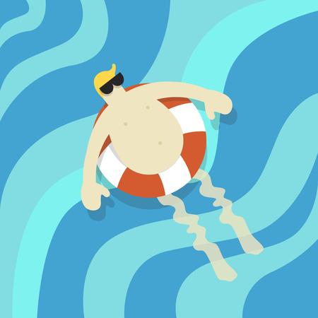 Vector van een man die in het water drijft