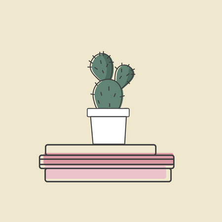 Vector of cactus on books