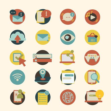 Illustration set of social network icons Illustration