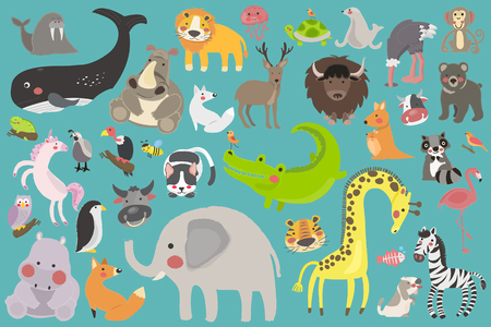 Illustration drawing style set of wildlife Vectores