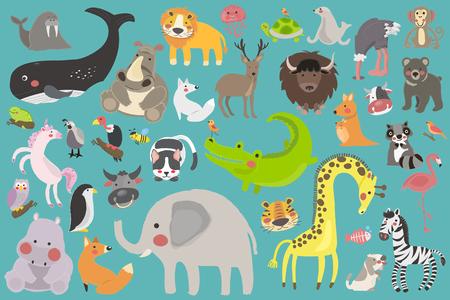 ilustración dibujo estilo conjunto de fauna Ilustración de vector