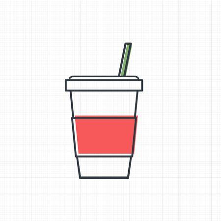 차가운 음료 컵 아이콘 벡터입니다.