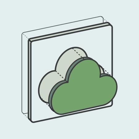 Illustration of cloud computing icon Çizim