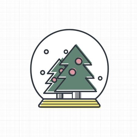 クリスマスの雪のボールのアイコンのベクトル。